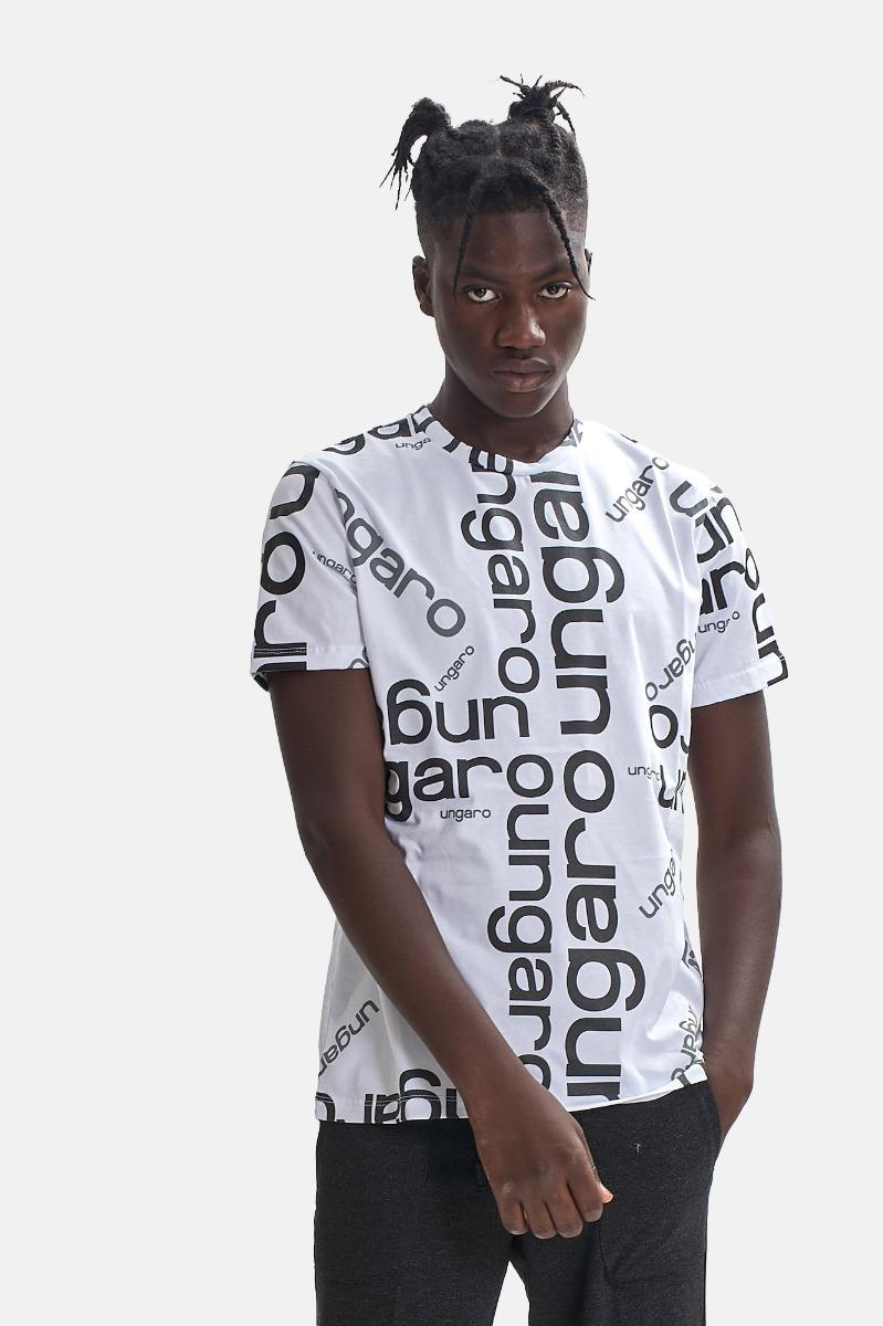 T-shirt logo all over - Bianco