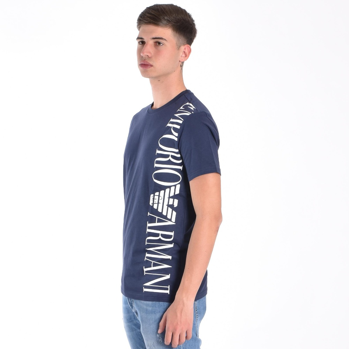 T-shirt logo grande laterale - Blu Navy