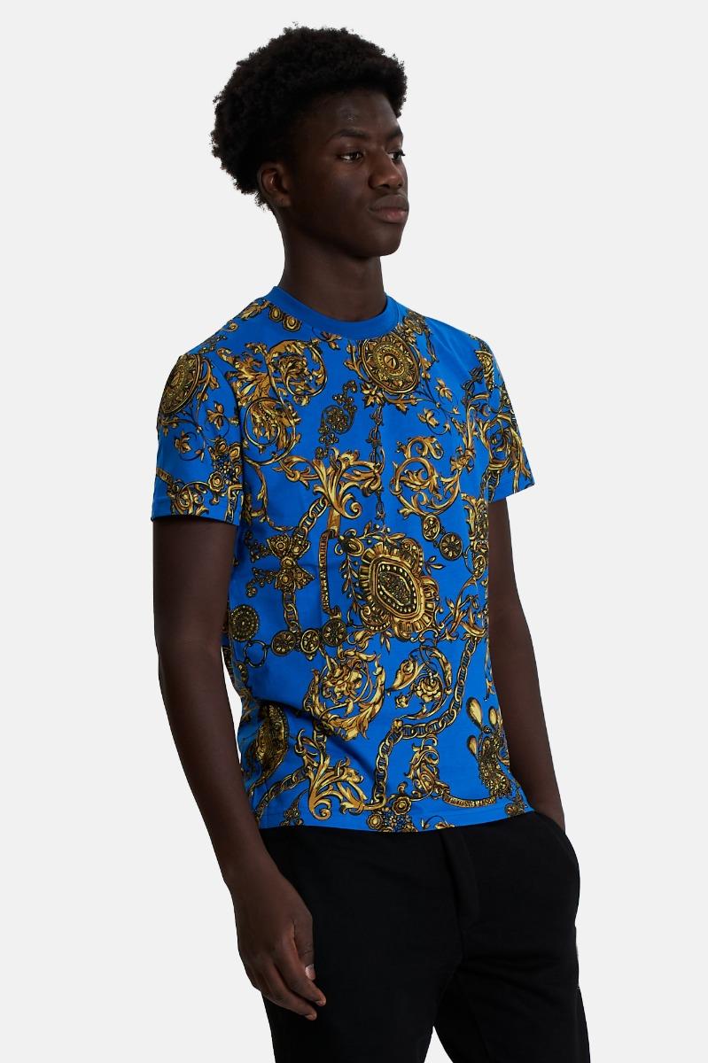T-shirt print bijoux -Blu