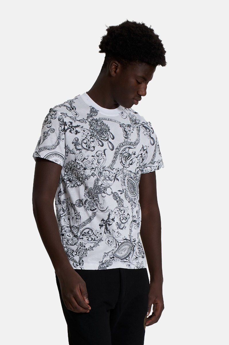 T-shirt st baroque bijoux -Bianco