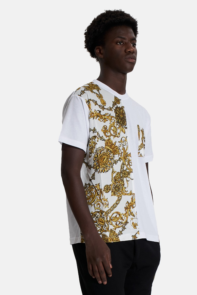 T-shirt print bijoux -Bianco